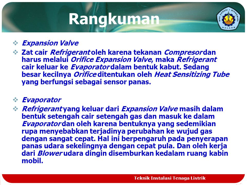 Rangkuman Expansion Valve