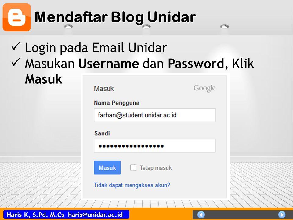 Mendaftar Blog Unidar Login pada Email Unidar