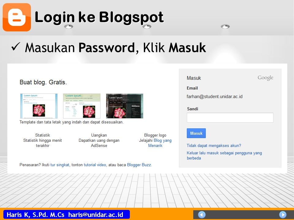 Login ke Blogspot Masukan Password, Klik Masuk