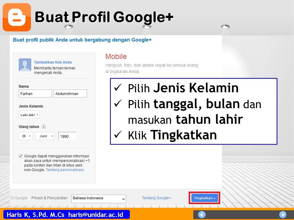 Buat Profil Google+ Pilih Jenis Kelamin