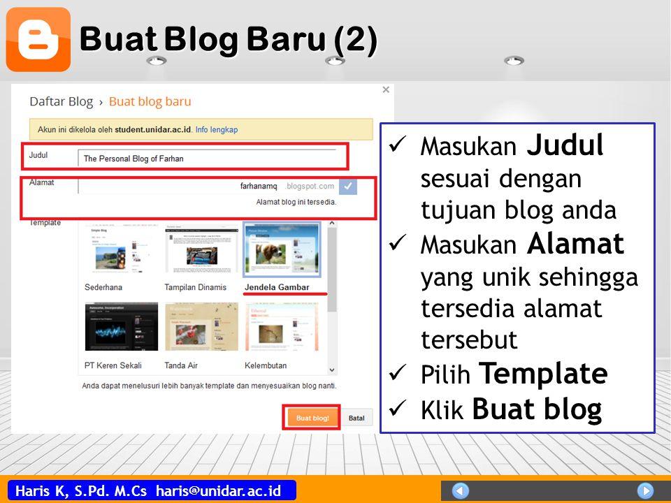 Buat Blog Baru (2) Masukan Judul sesuai dengan tujuan blog anda