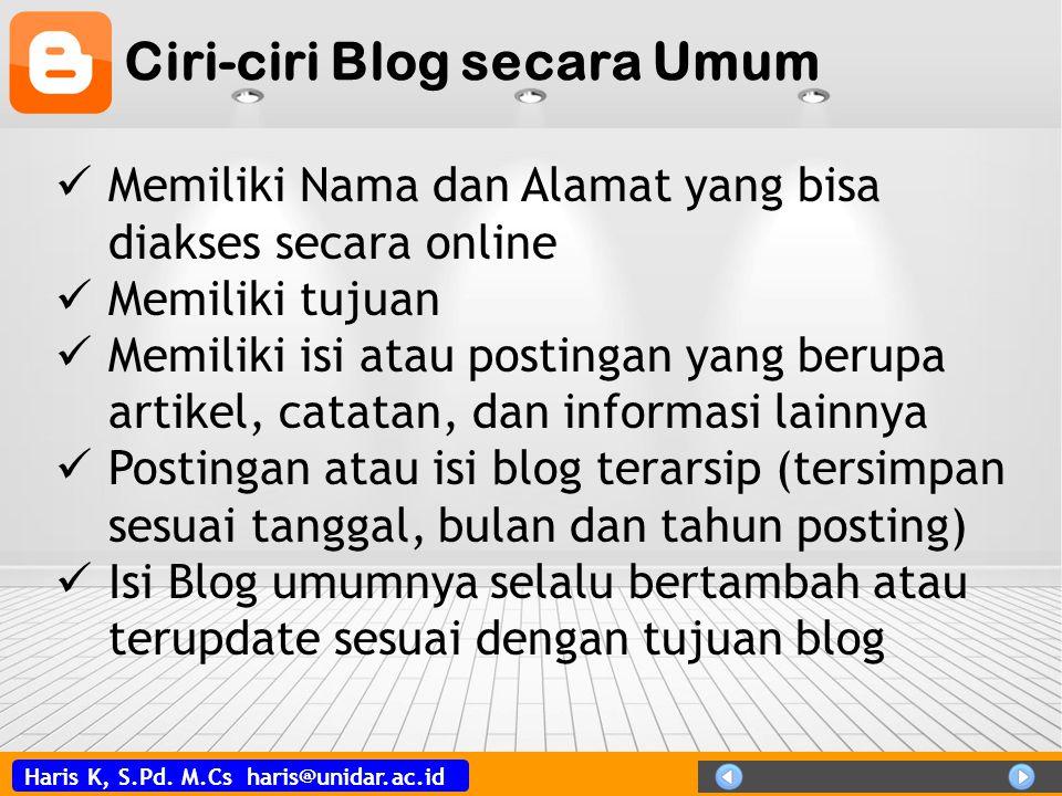 Ciri-ciri Blog secara Umum