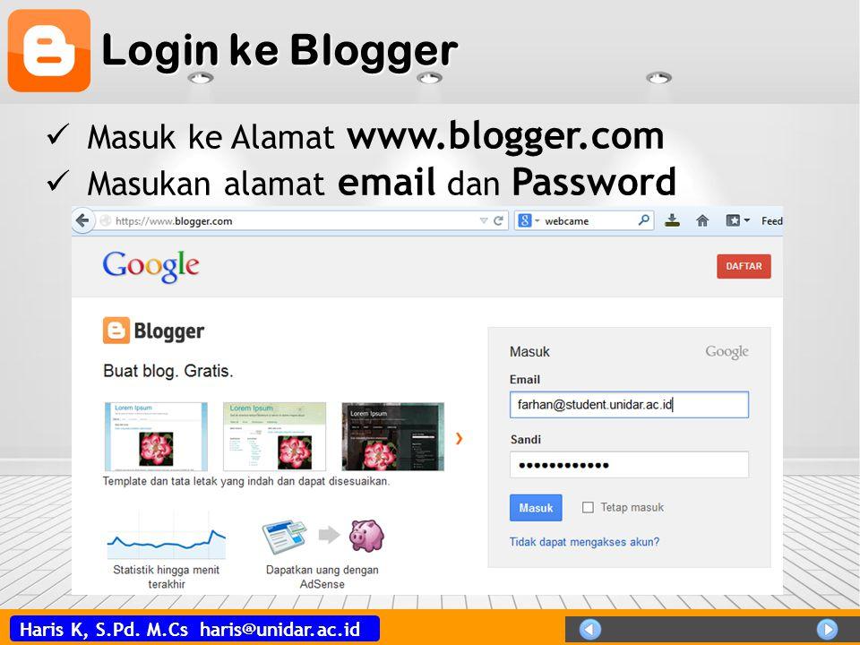 Login ke Blogger Masuk ke Alamat www.blogger.com