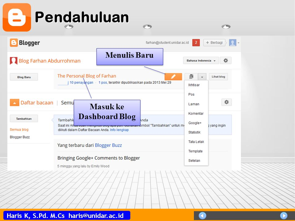 Masuk ke Dashboard Blog