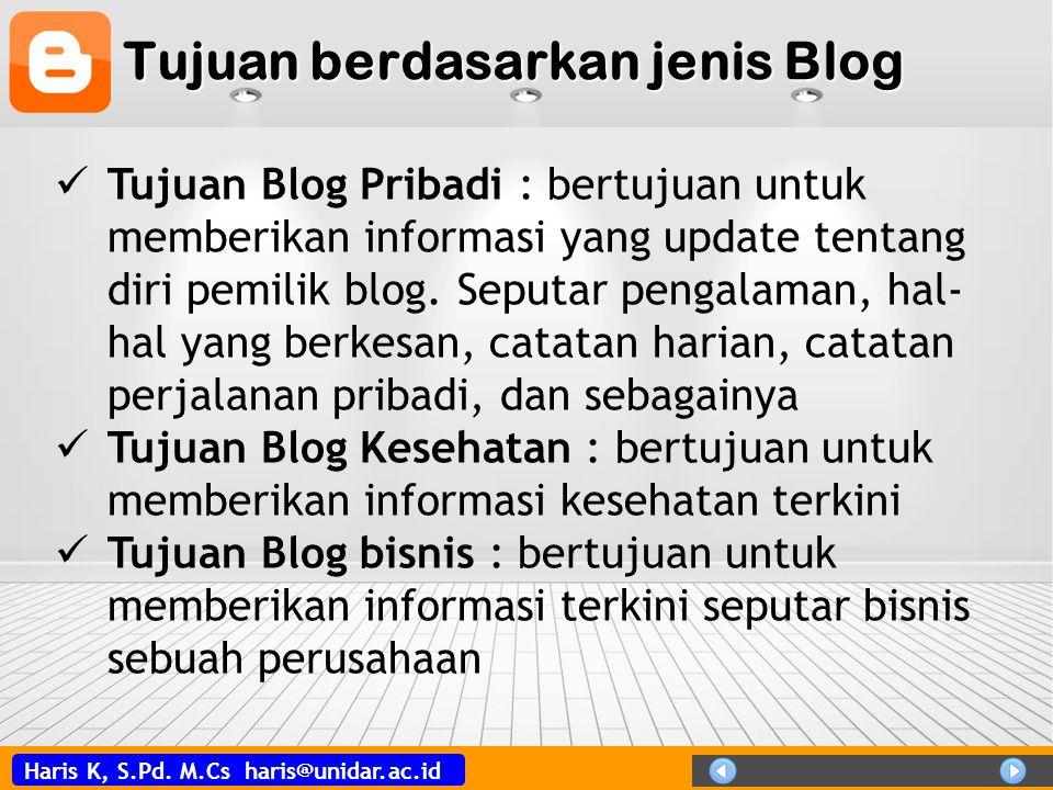 Tujuan berdasarkan jenis Blog