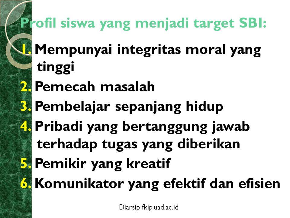 Profil siswa yang menjadi target SBI: