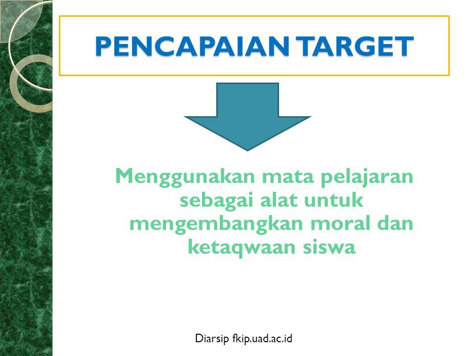 PENCAPAIAN TARGET Menggunakan mata pelajaran sebagai alat untuk mengembangkan moral dan ketaqwaan siswa.