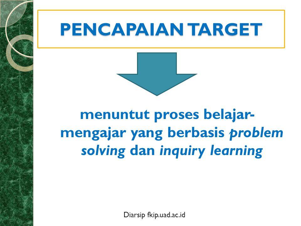 PENCAPAIAN TARGET menuntut proses belajar- mengajar yang berbasis problem solving dan inquiry learning.