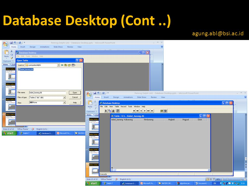 Database Desktop (Cont ..)