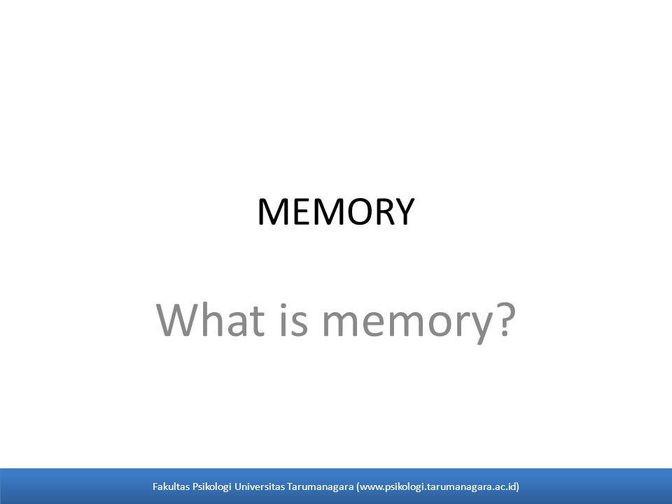 MEMORY What is memory.