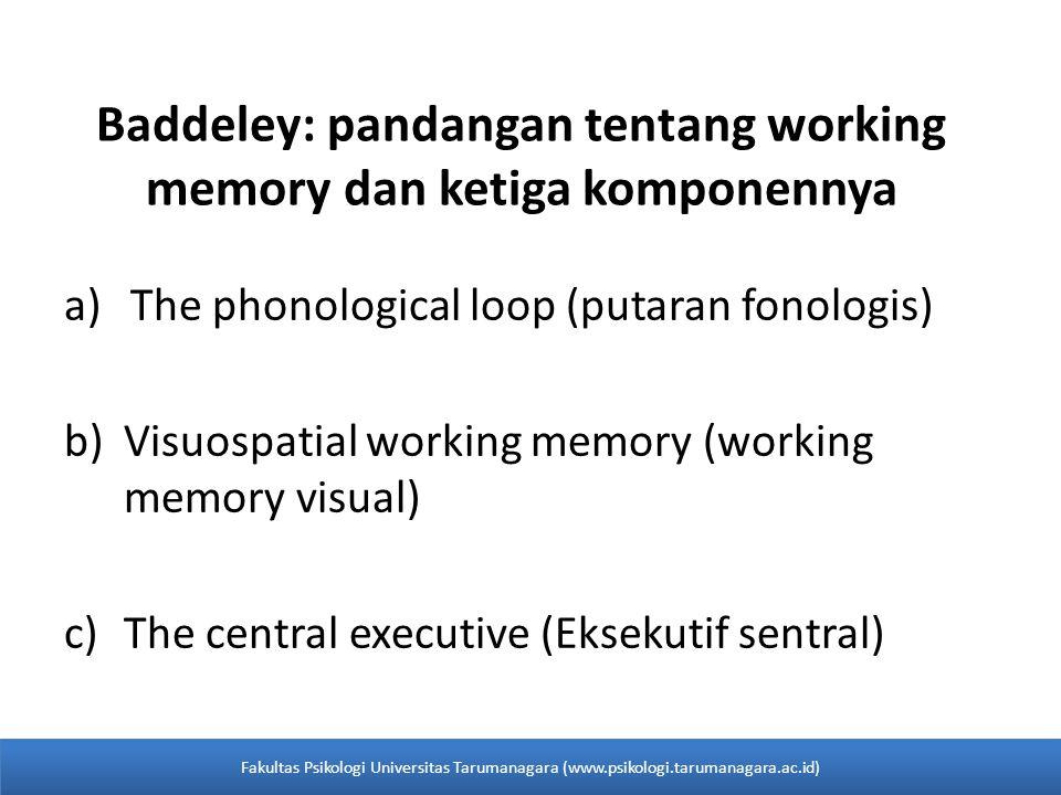 Baddeley: pandangan tentang working memory dan ketiga komponennya