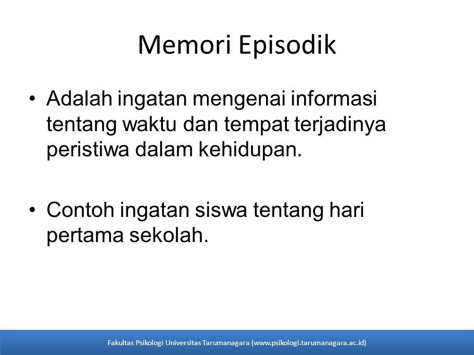 Memori Episodik Adalah ingatan mengenai informasi tentang waktu dan tempat terjadinya peristiwa dalam kehidupan.