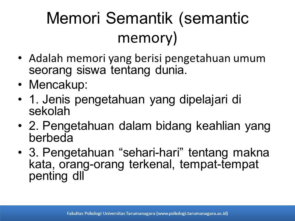 Memori Semantik (semantic memory)
