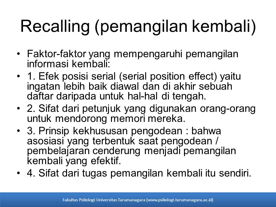Recalling (pemangilan kembali)