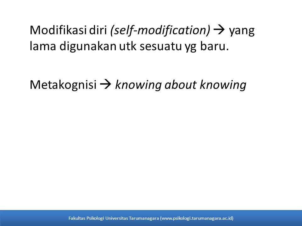Modifikasi diri (self-modification)  yang lama digunakan utk sesuatu yg baru. Metakognisi  knowing about knowing