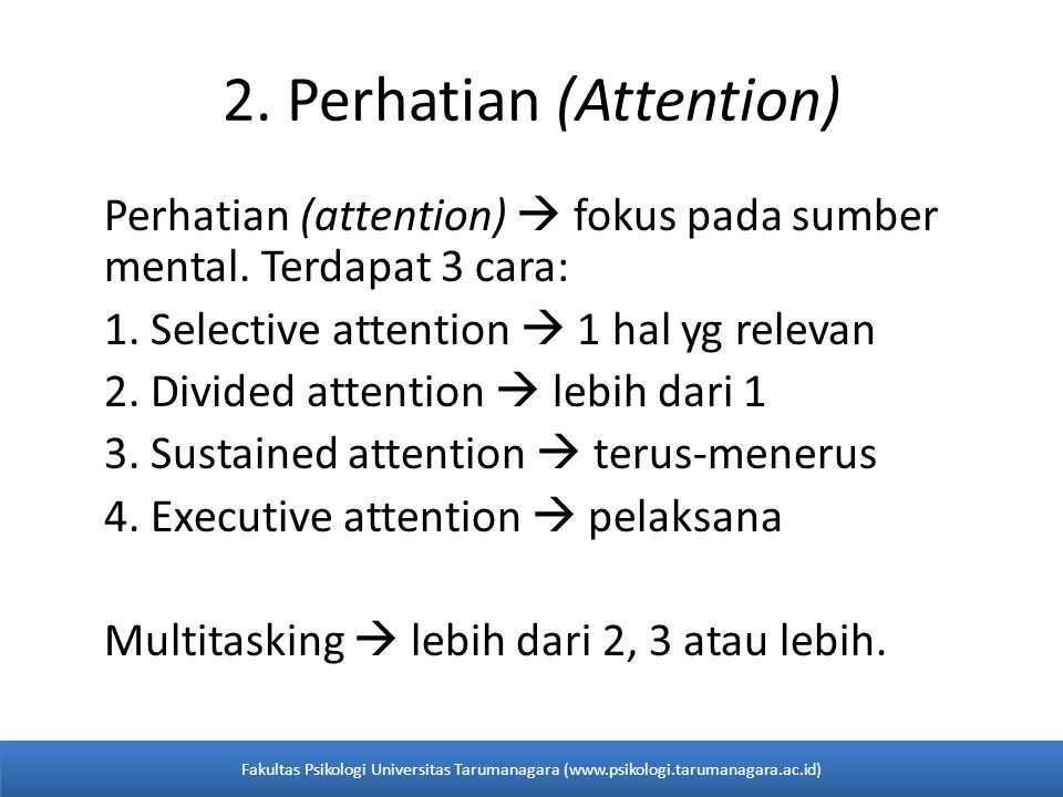 2. Perhatian (Attention)