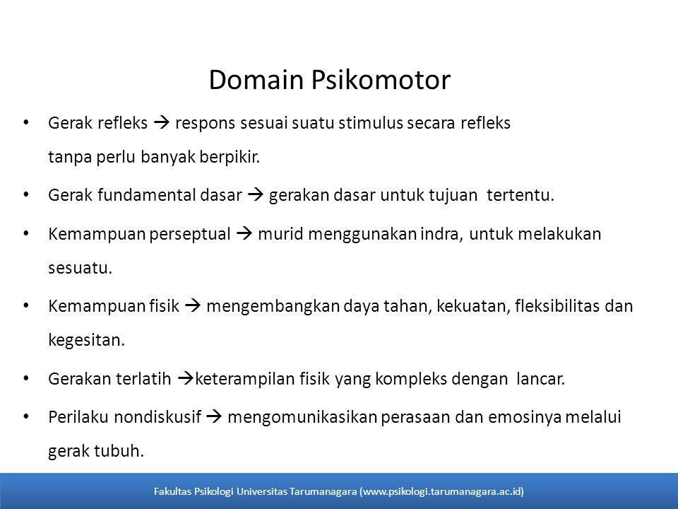 Domain Psikomotor Gerak refleks  respons sesuai suatu stimulus secara refleks tanpa perlu banyak berpikir.