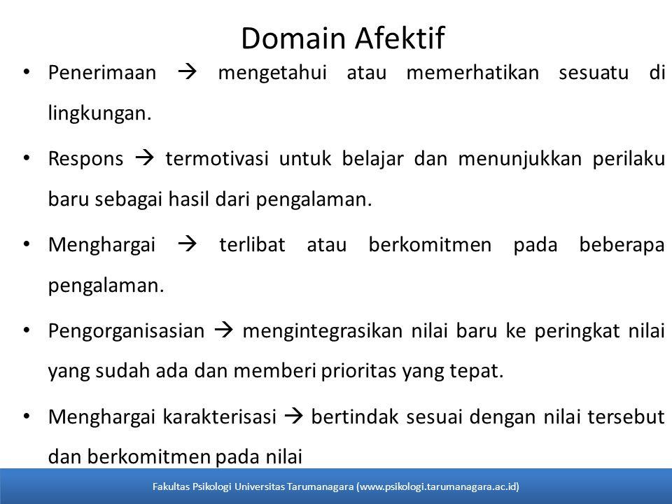 Domain Afektif Penerimaan  mengetahui atau memerhatikan sesuatu di lingkungan.