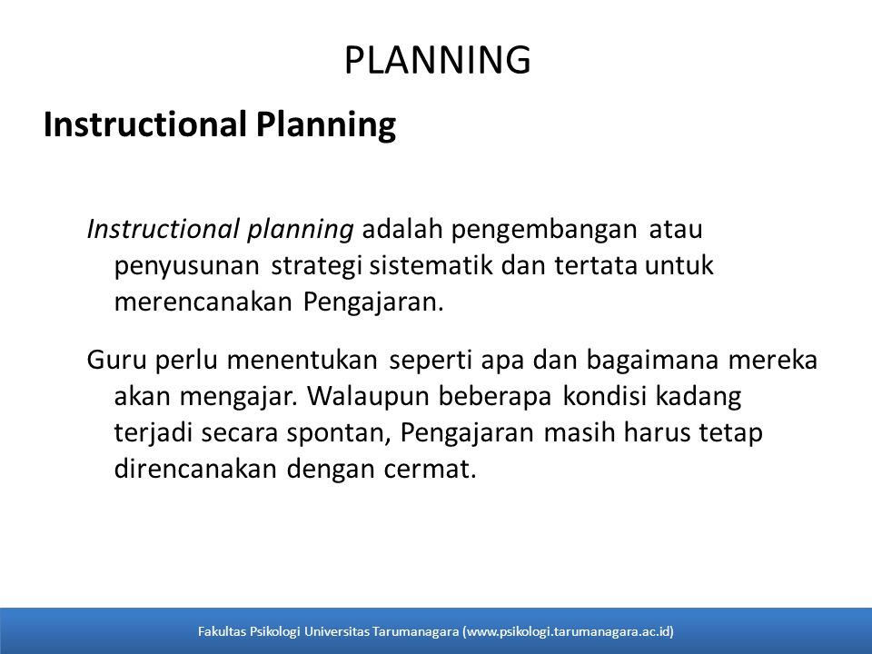 PLANNING Instructional Planning