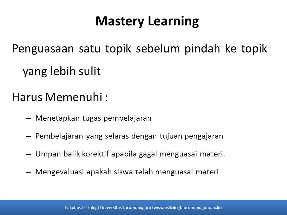 Mastery Learning Penguasaan satu topik sebelum pindah ke topik yang lebih sulit. Harus Memenuhi : Menetapkan tugas pembelajaran.