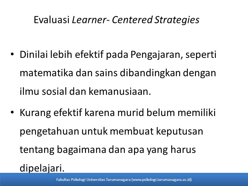 Evaluasi Learner- Centered Strategies