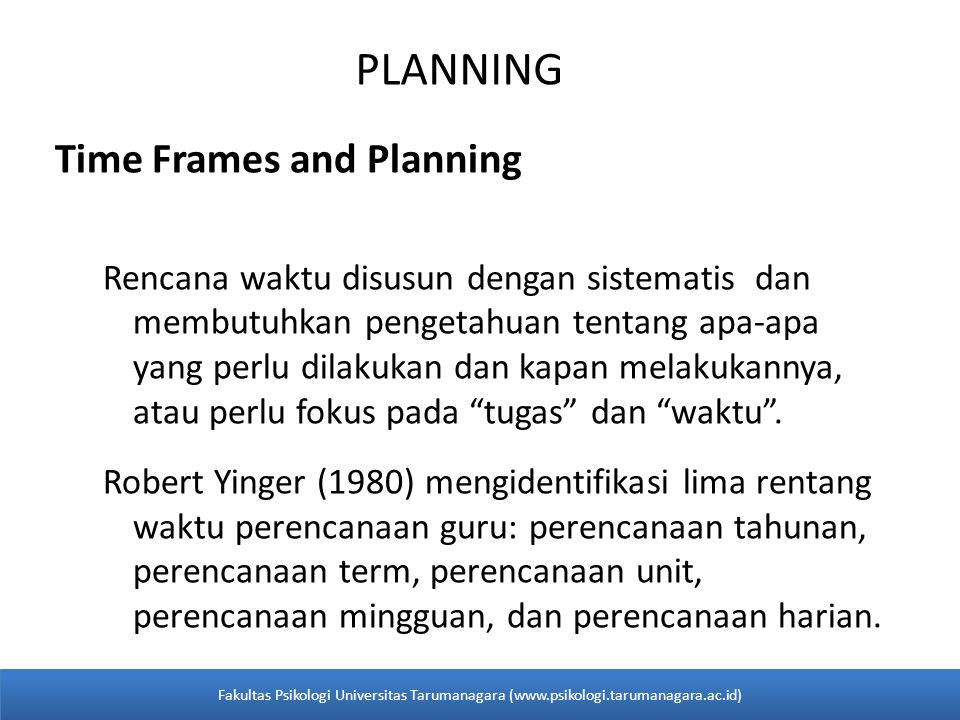PLANNING Time Frames and Planning