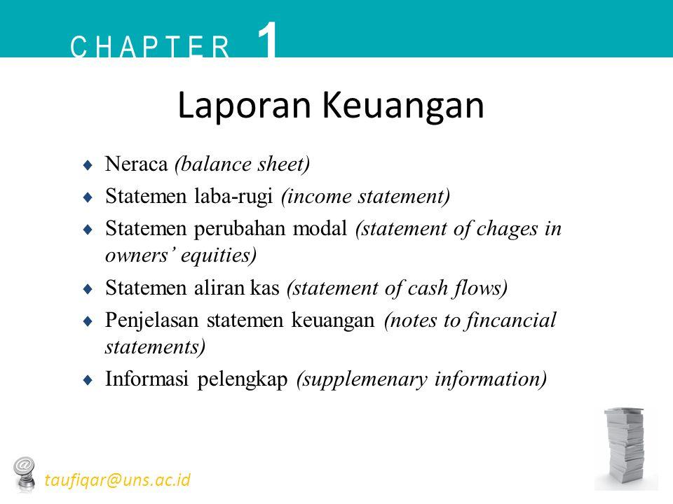 1 Laporan Keuangan C h a p t e r Neraca (balance sheet)