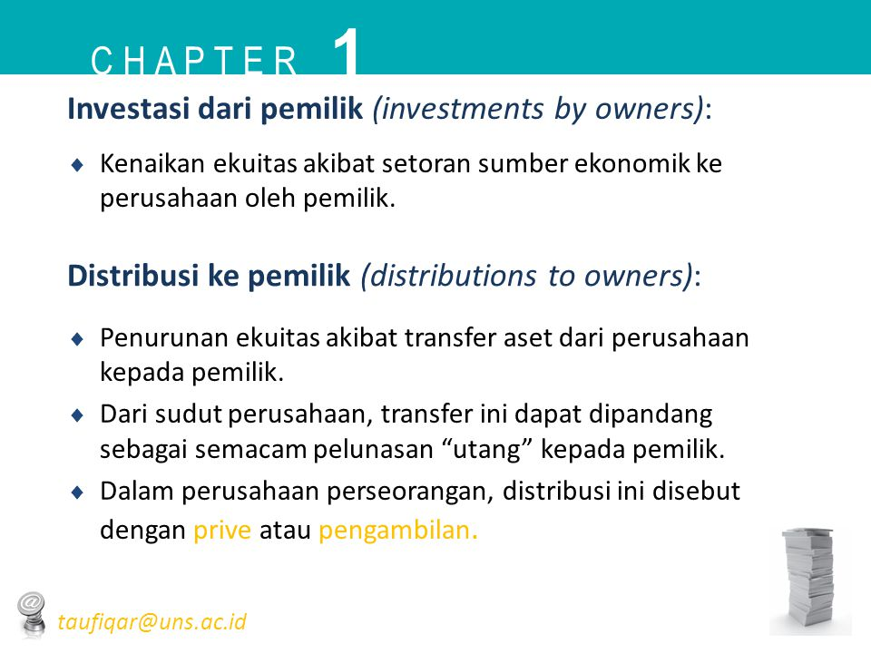 1 C h a p t e r Investasi dari pemilik (investments by owners):