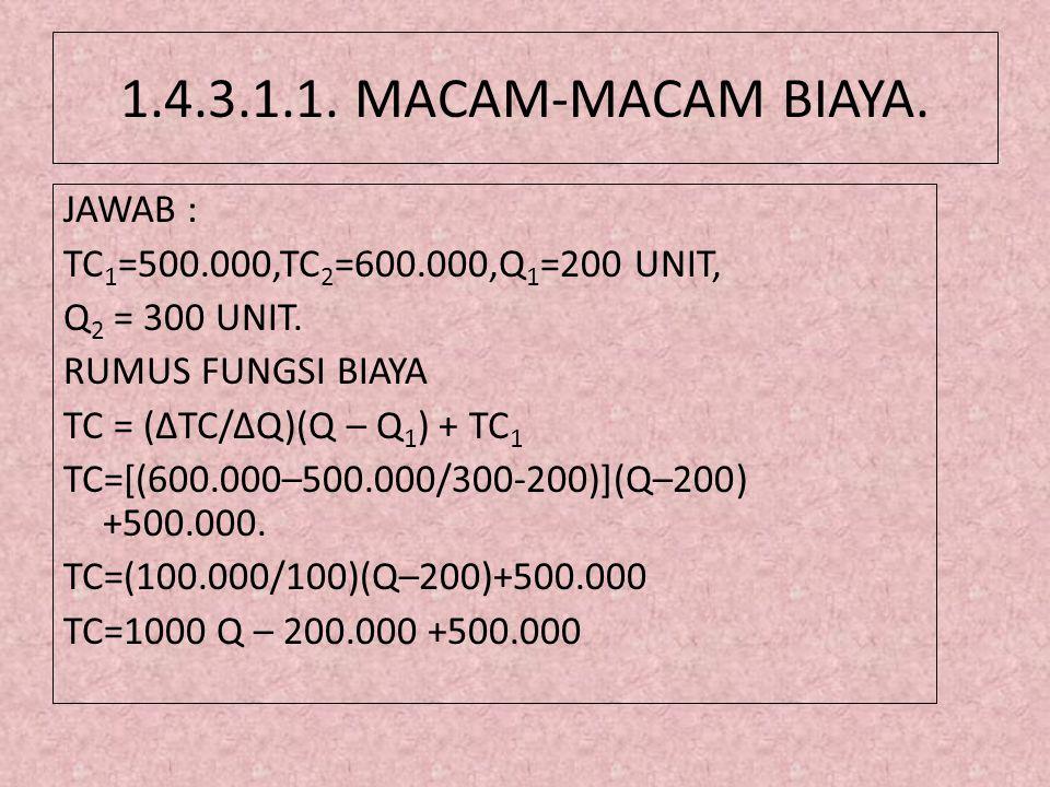 1.4.3.1.1. MACAM-MACAM BIAYA. JAWAB :