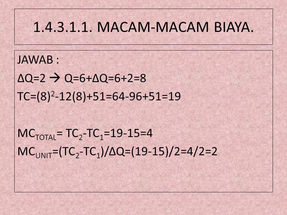 1.4.3.1.1. MACAM-MACAM BIAYA. JAWAB : ΔQ=2  Q=6+ΔQ=6+2=8