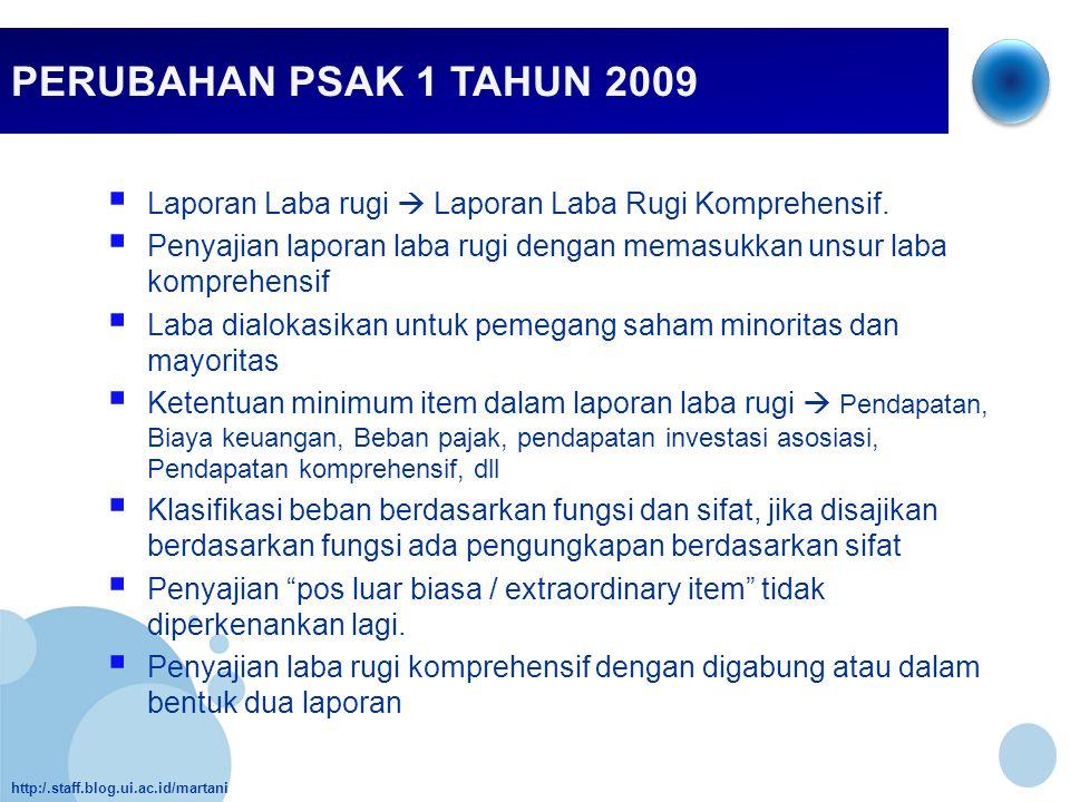 PERUBAHAN PSAK 1 TAHUN 2009 Laporan Laba rugi  Laporan Laba Rugi Komprehensif.