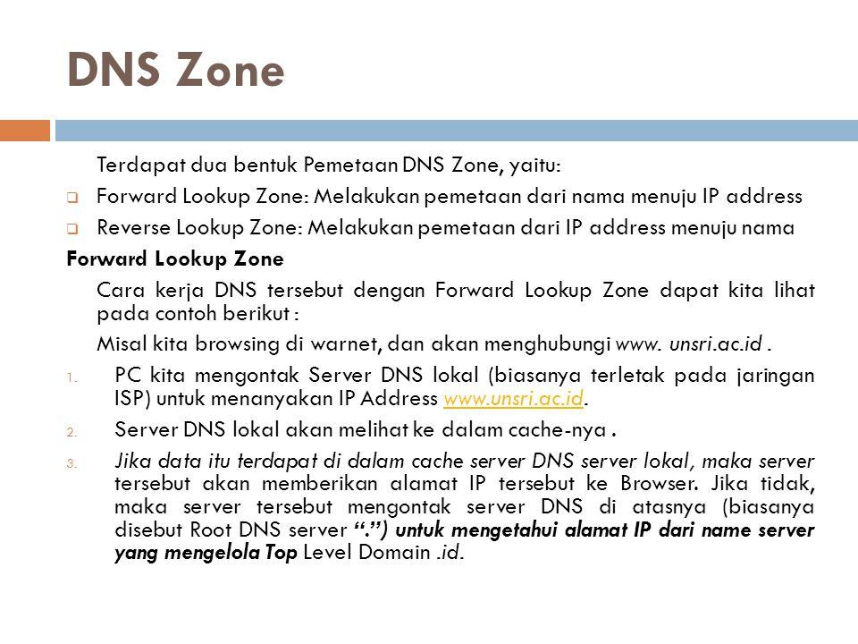 DNS Zone Terdapat dua bentuk Pemetaan DNS Zone, yaitu: