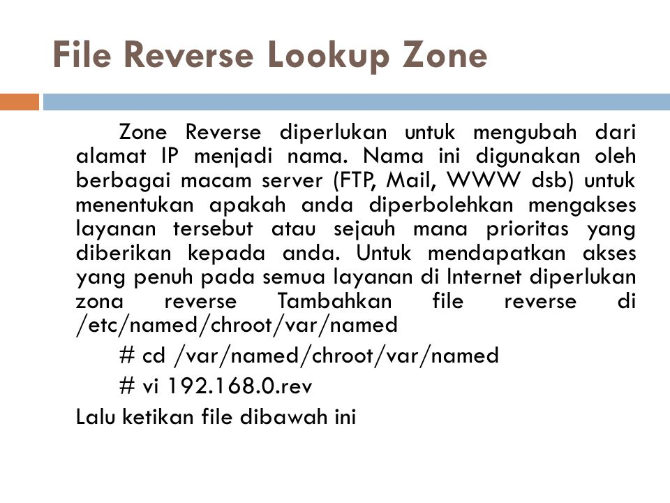 File Reverse Lookup Zone