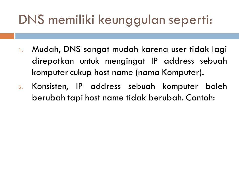 DNS memiliki keunggulan seperti: