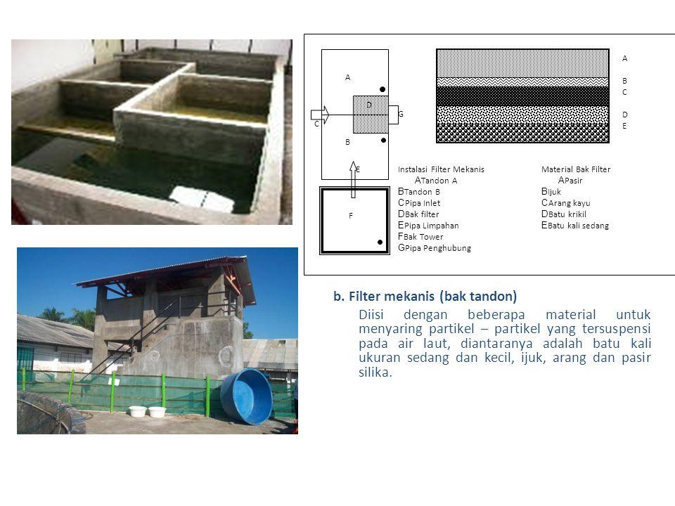 b. Filter mekanis (bak tandon)