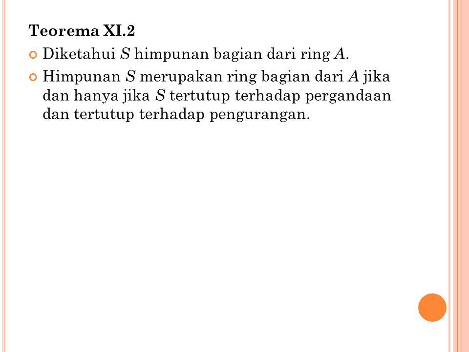 Teorema XI.2 Diketahui S himpunan bagian dari ring A.
