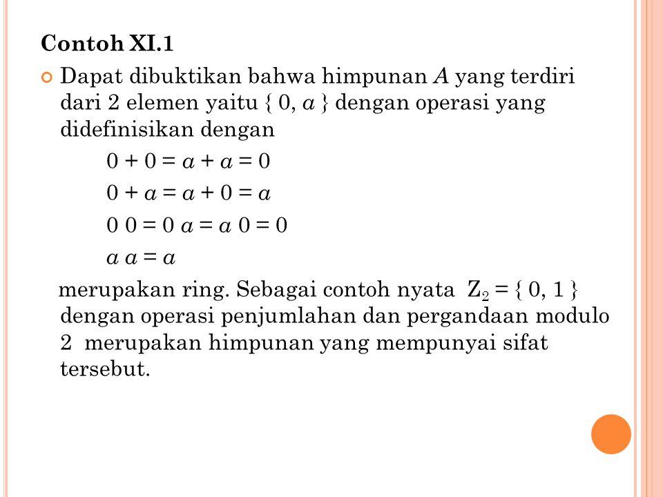 Contoh XI.1 Dapat dibuktikan bahwa himpunan A yang terdiri dari 2 elemen yaitu { 0, a } dengan operasi yang didefinisikan dengan.