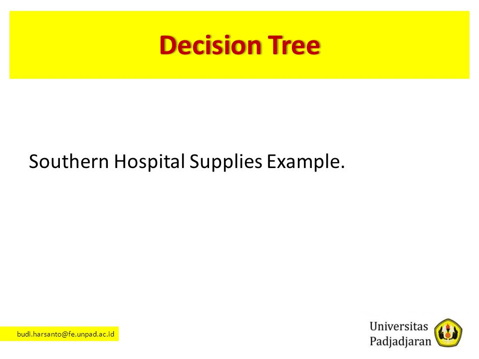 Decision Tree Southern Hospital Supplies Example.