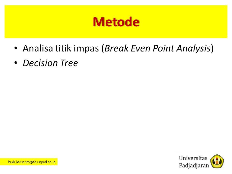 Metode Analisa titik impas (Break Even Point Analysis) Decision Tree