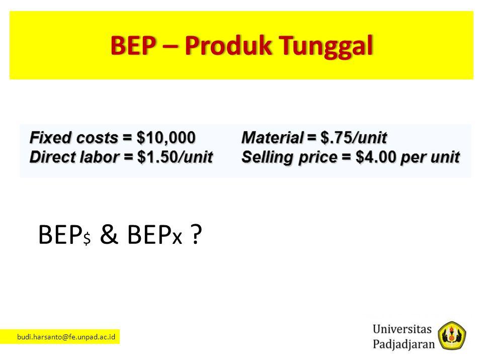 BEP – Produk Tunggal BEP$ & BEPx