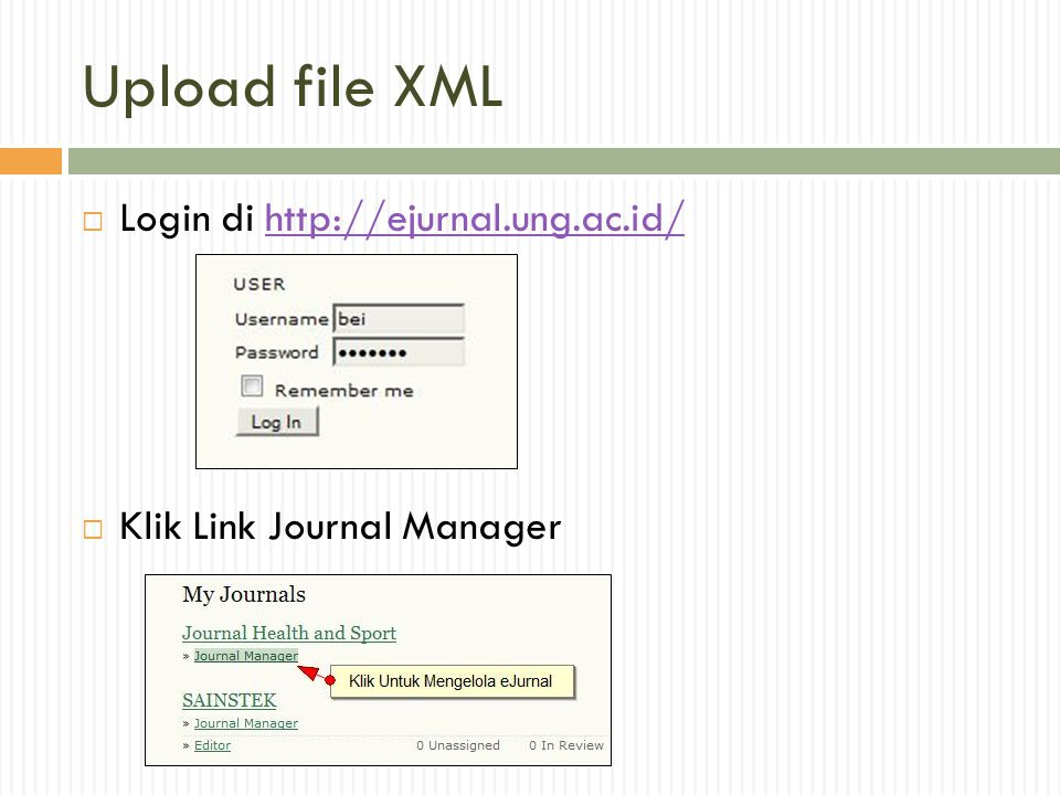 Upload file XML Login di http://ejurnal.ung.ac.id/