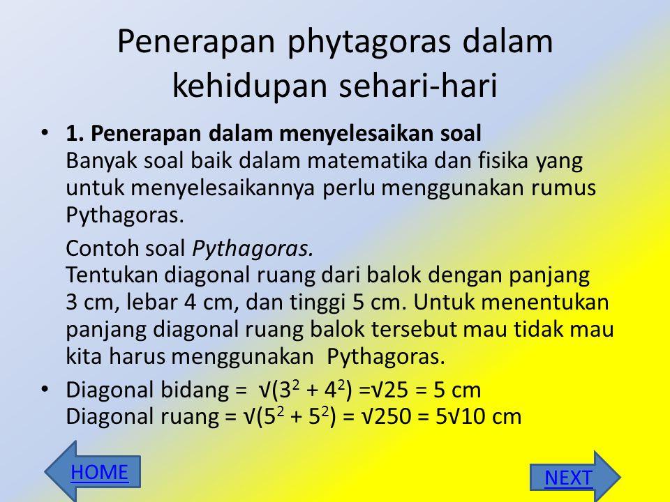 Penerapan phytagoras dalam kehidupan sehari-hari