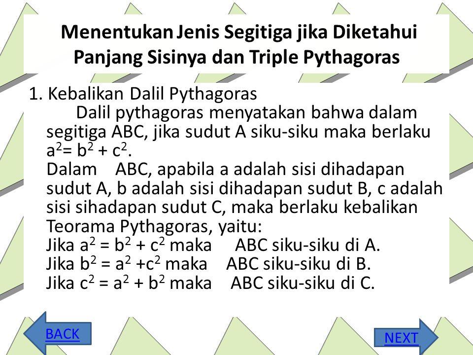 Menentukan Jenis Segitiga jika Diketahui Panjang Sisinya dan Triple Pythagoras