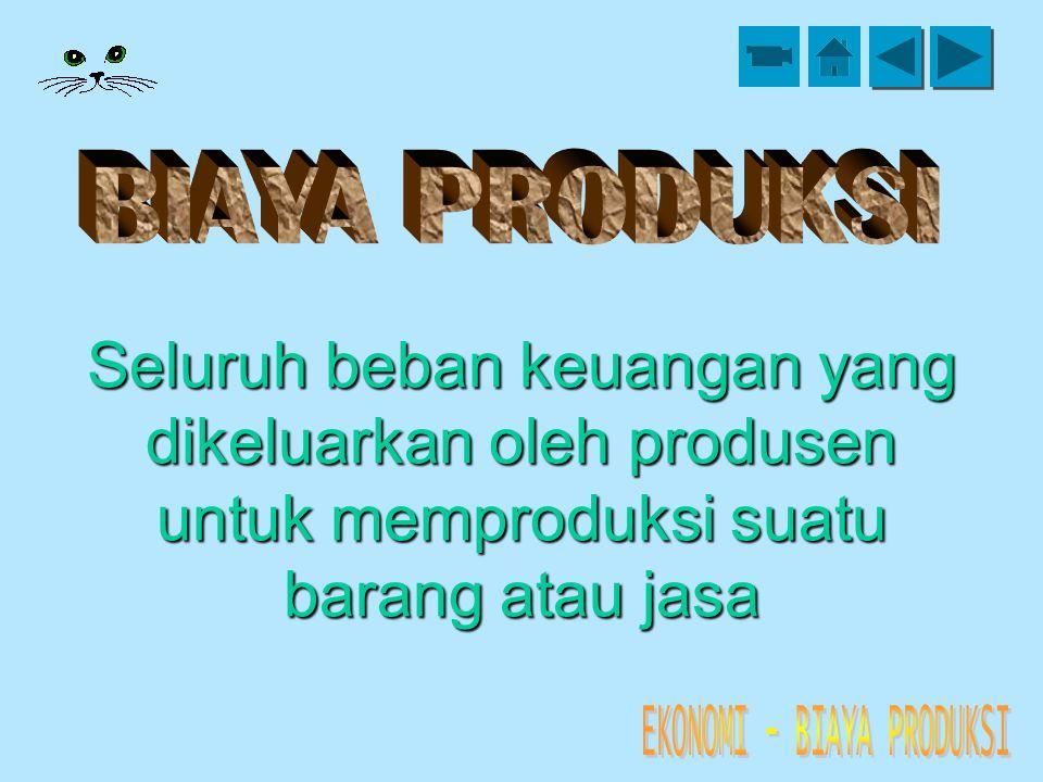 BIAYA PRODUKSI Seluruh beban keuangan yang dikeluarkan oleh produsen untuk memproduksi suatu barang atau jasa.