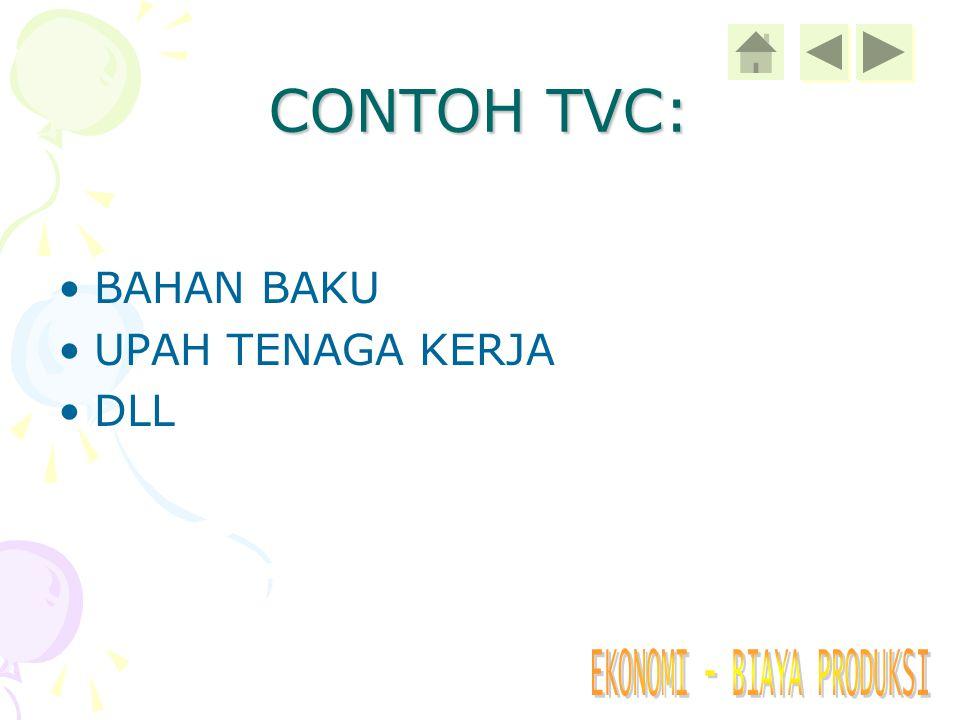 CONTOH TVC: BAHAN BAKU UPAH TENAGA KERJA DLL