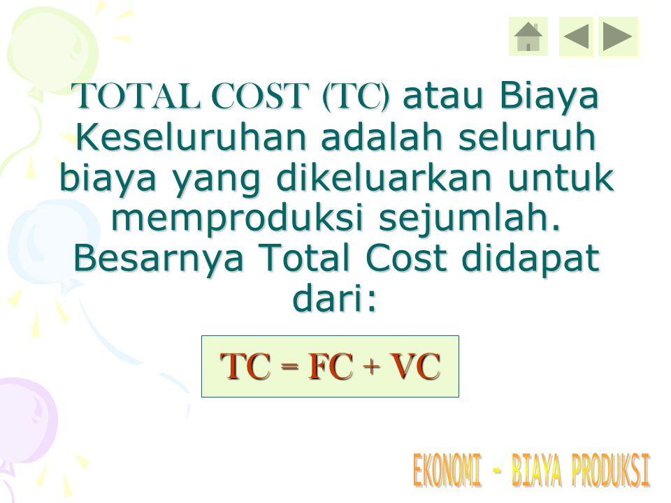 TOTAL COST (TC) atau Biaya Keseluruhan adalah seluruh biaya yang dikeluarkan untuk memproduksi sejumlah. Besarnya Total Cost didapat dari: