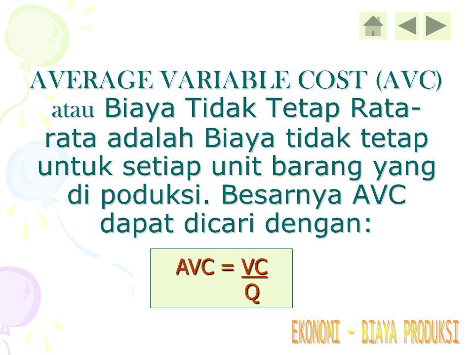 AVERAGE VARIABLE COST (AVC) atau Biaya Tidak Tetap Rata-rata adalah Biaya tidak tetap untuk setiap unit barang yang di poduksi. Besarnya AVC dapat dicari dengan: