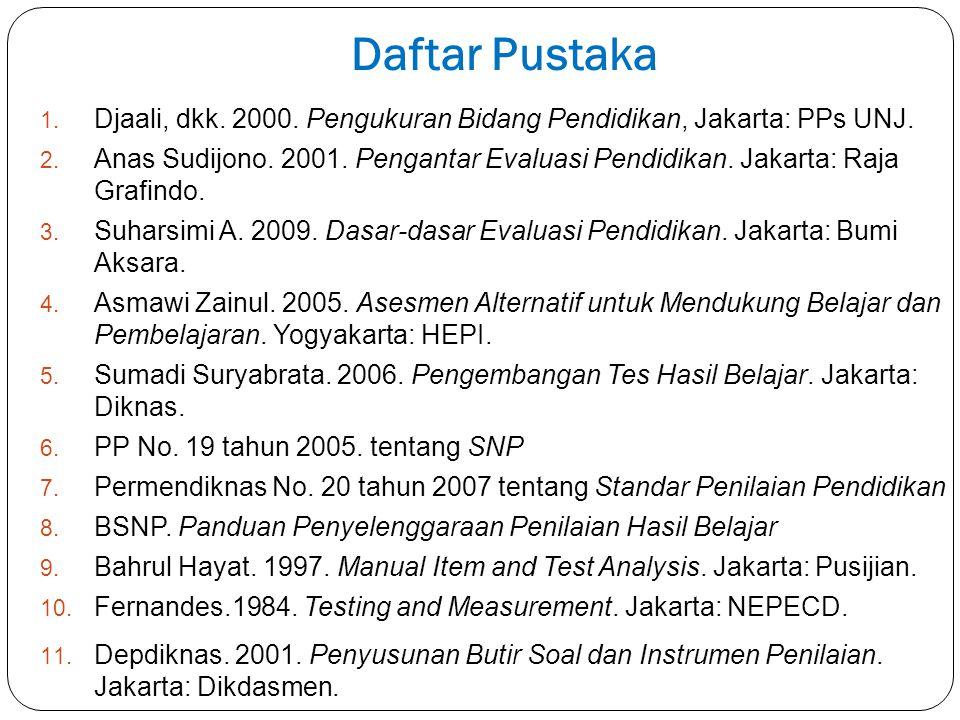 Daftar Pustaka Djaali, dkk. 2000. Pengukuran Bidang Pendidikan, Jakarta: PPs UNJ.
