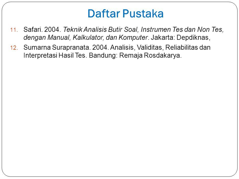 Daftar Pustaka Safari. 2004. Teknik Analisis Butir Soal, Instrumen Tes dan Non Tes, dengan Manual, Kalkulator, dan Komputer. Jakarta: Depdiknas,