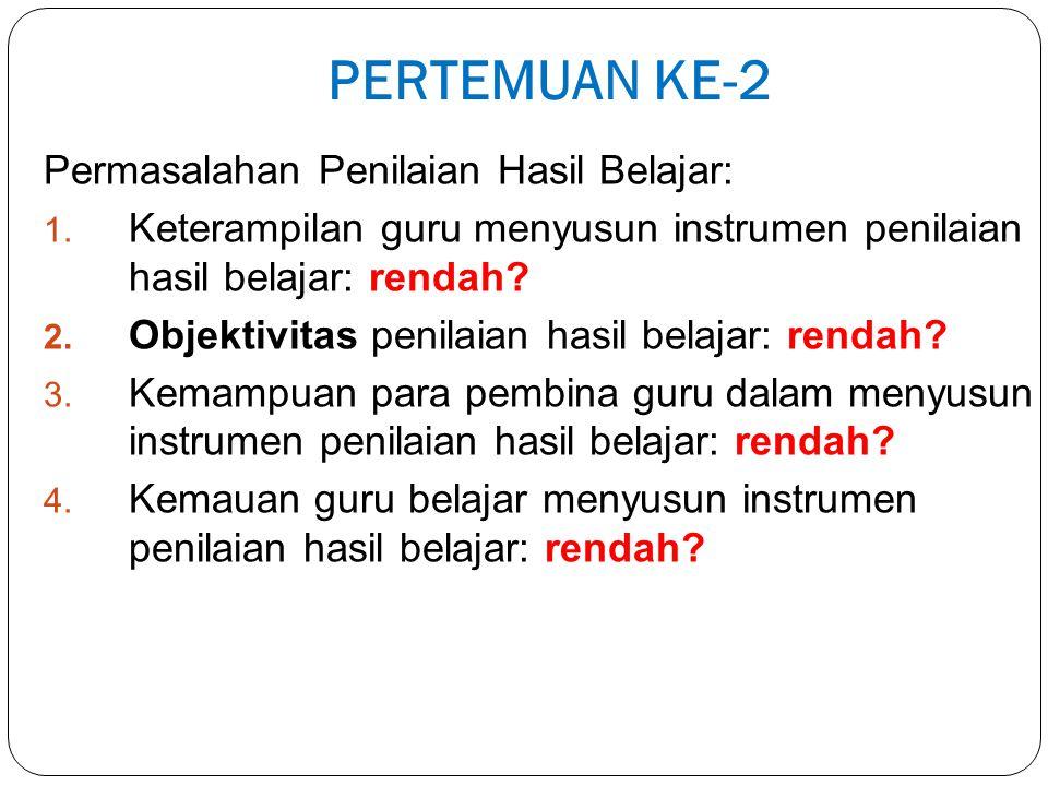 PERTEMUAN KE-2 Permasalahan Penilaian Hasil Belajar: